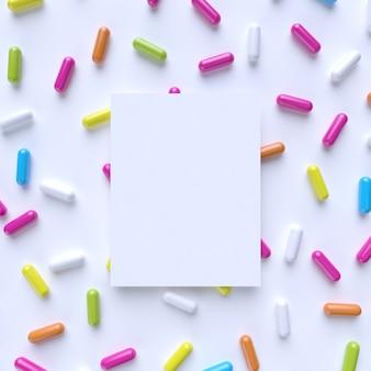 Maquete com cápsula colorida