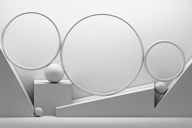 Maquete com círculos e esferas nas cores cinza brancas