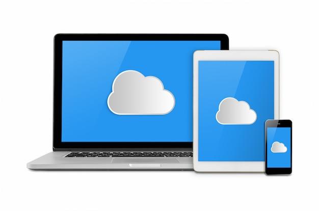 Maquete com computação em nuvem