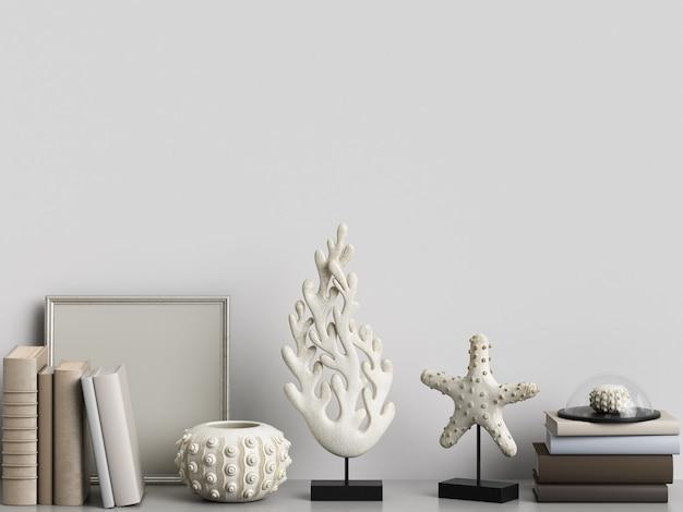 Maquete com coral esculturas e livros de renderização em 3d