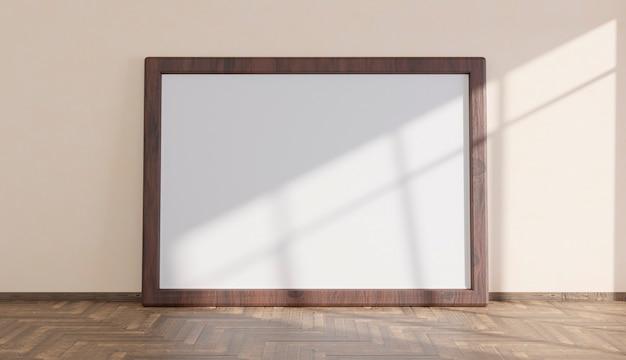 Maquete com grande moldura de madeira sobre piso em parquet iluminada pela luz que entra pela janela. renderização 3d