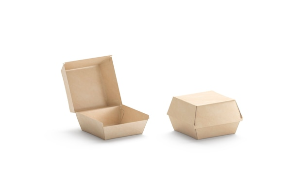 Maquete da caixa de hambúrguer artesanal em branco aberta e fechada maquete em caixa de papelão marrom vazio