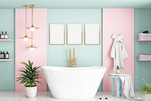 Maquete da moldura do banheiro no quarto infantil rosa