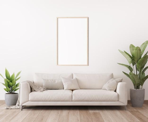 Maquete da moldura do pôster em design minimalista de sala de estar brilhante