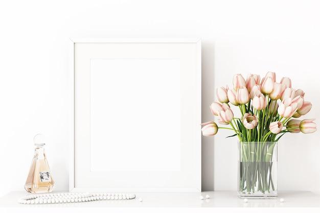 Maquete da moldura e flores rosa