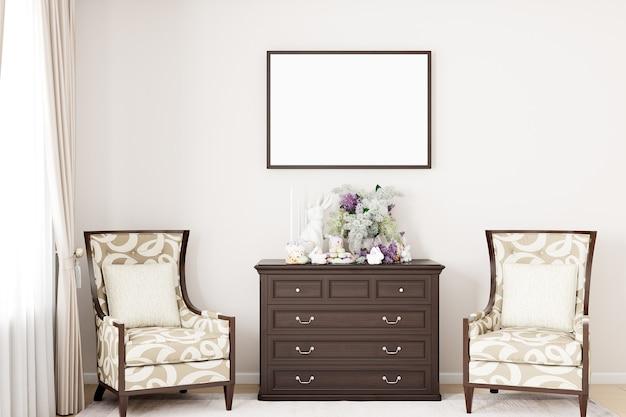 Maquete da moldura horizontal da sala de estar e decoração de páscoa