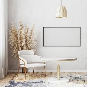 Maquete da moldura horizontal em branco em um quarto bem iluminado com mesa de jantar redonda luxuosa, cadeira branca, tapete de design moderno, estilo escandinavo, renderização em 3d