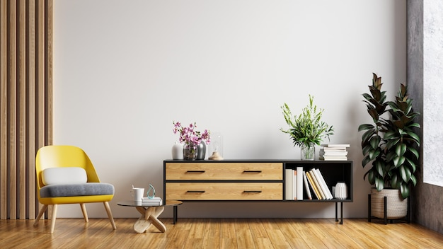 Maquete da parede do quarto do interior da sala de estar em tons quentes, poltrona com gabinete de madeira. renderização 3d