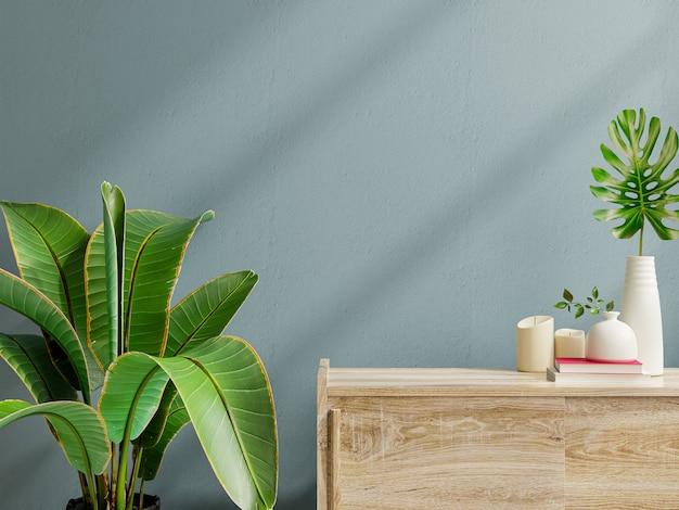 Maquete da parede interna com planta verde, parede azul escuro e prateleira renderização 3d