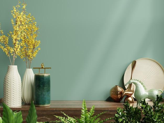 Maquete da parede interna com planta verde, parede verde e prateleira renderização 3d