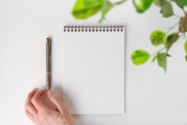 Maquete da vista superior de um caderno em branco aberto em espiral, folhas de planta de casa e uma caneta automática ajustada por mão feminina