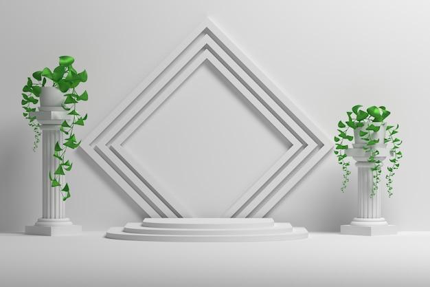 Maquete de apresentação com molduras quadradas, pilares e plantas em vasos