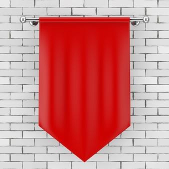 Maquete de bandeira de tecido em branco vermelho na frente da parede de tijolos. renderização 3d