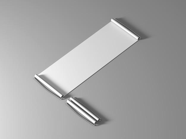 Maquete de bandeira em branco branco à mão, vista isométrica