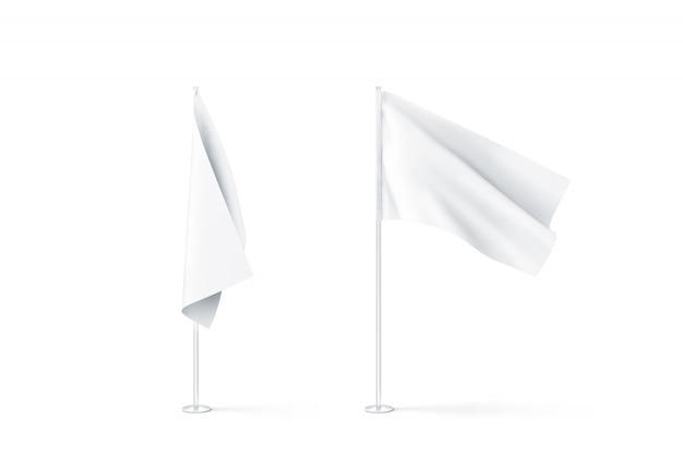 Maquete de bandeiras brancas em branco