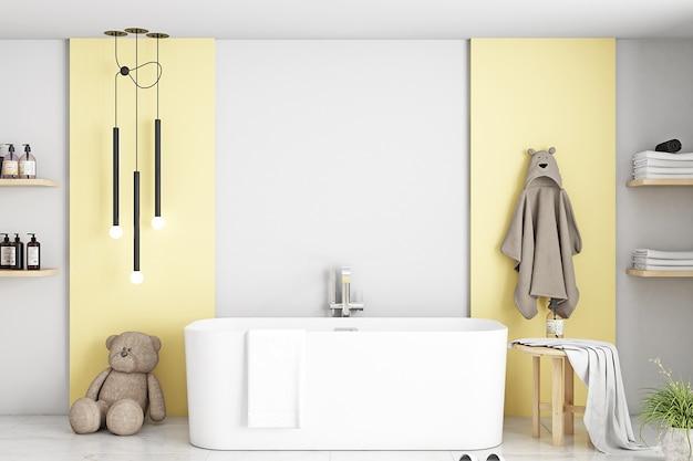 Maquete de banheiro em quarto infantil amarelo
