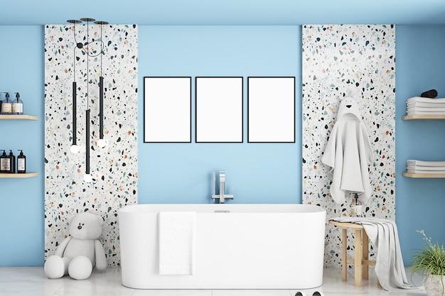 Maquete de banheiro em quarto infantil azul