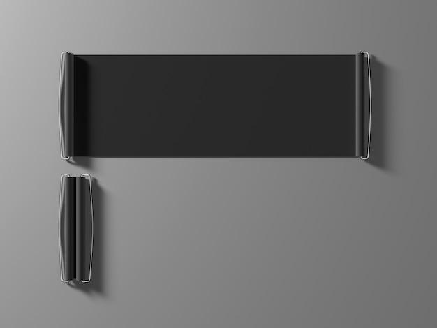 Maquete de banner em branco preto mão