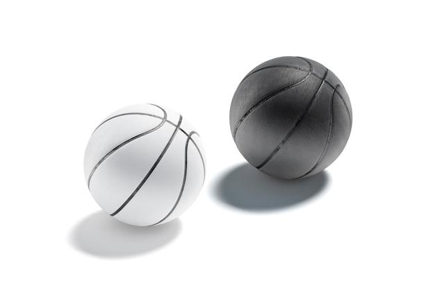 Maquete de bola de basquete de borracha em branco e preto. maquete de basquete com esfera texturizada vazia.