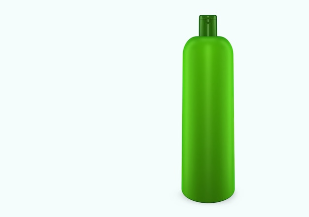 Maquete de bootle de plástico de shampoo de limão isolado do fundo: design de pacote de bootle de plástico de shampoo. modelo de higiene, médico, corpo ou cuidado facial em branco. ilustração 3d