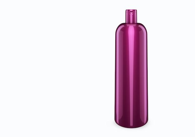 Maquete de bootle de plástico de xampu de nácar lilás profundo isolado do fundo: design de pacote de bootle de plástico de xampu. modelo de higiene, médico, corpo ou cuidado facial em branco. ilustração 3d