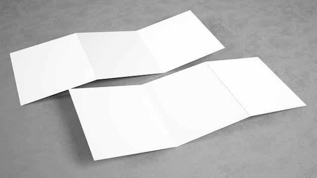 Maquete de brochura com três dobras aberta em branco