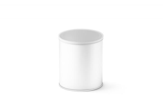 Maquete de caixa de cilindro pequeno branco em branco