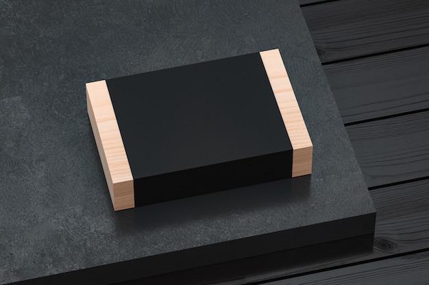 Maquete de caixa de presente de madeira com capa de papel preto