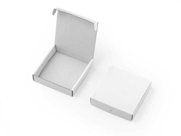Maquete de caixas brancas abertas e fechadas isolada no fundo branco