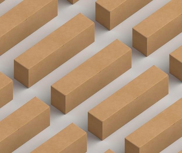Maquete de caixas de papelão de desenho isométrico