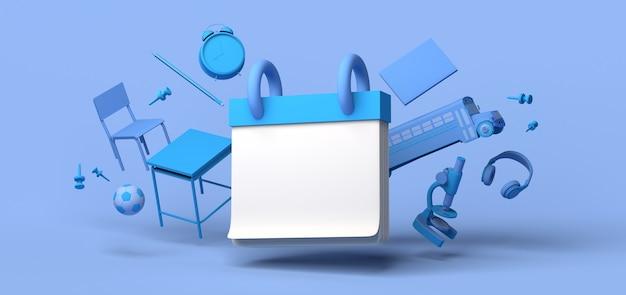 Maquete de calendário com elementos escolares. consulta médica. copie o espaço. ilustração 3d.