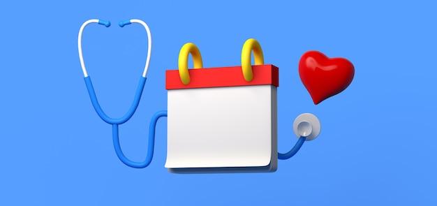 Maquete de calendário com estetoscópio e coração. consulta médica. copie o espaço. ilustração 3d.