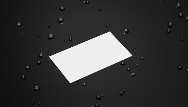 Maquete de cartão de visita em branco branco com esferas escuras em fundo preto, modelo de renderização 3d
