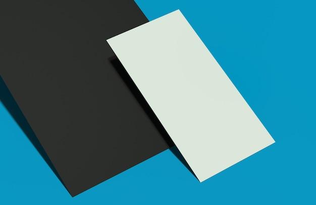 Maquete de cartão nas cores preto e branco sobre fundo azul