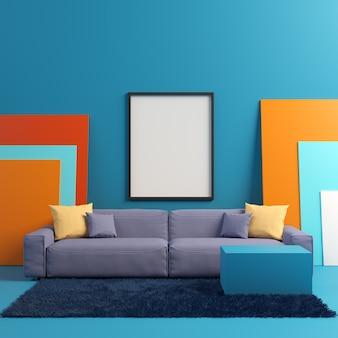 Maquete de cartaz no interior colorido