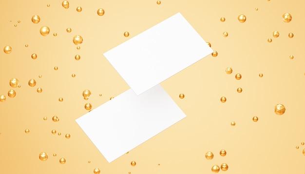 Maquete de cartões de visita em branco branco com esferas douradas sobre fundo bege, modelo de renderização 3d
