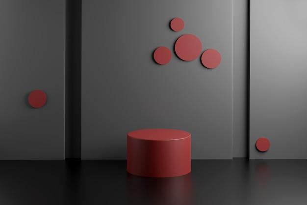 Maquete de cena abstrata com pódio cilíndrico geométrico com apresentação do produto