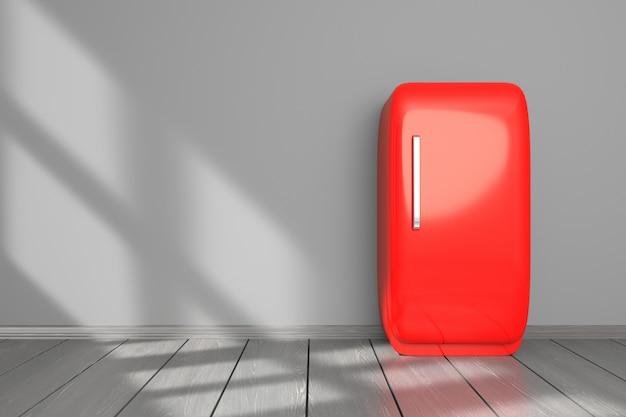 Maquete de cozinha com geladeira vermelha