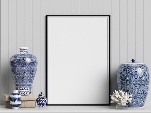 Maquete de decoração de interiores com frascos de gengibre chinês e corais