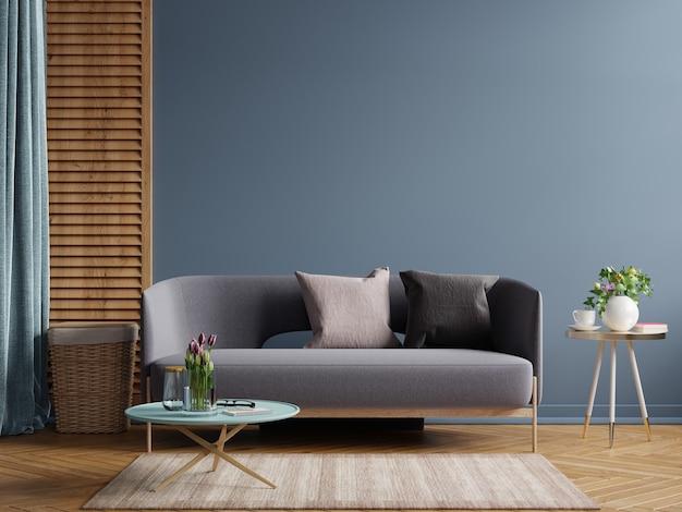 Maquete de design de interior moderno escuro com sofá em fundo de parede azul escuro vazio. renderização 3d