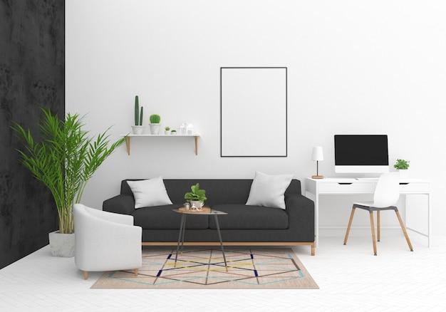 Maquete de design de interiores com moldura vertical