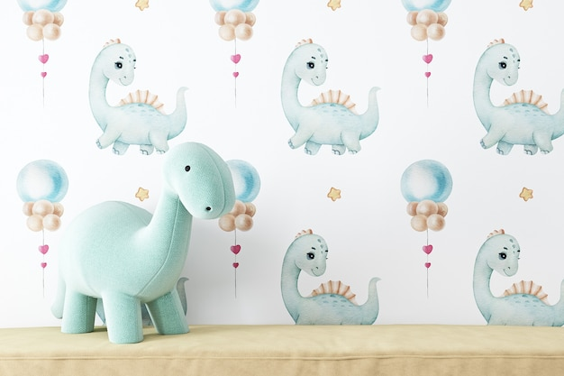 Maquete de dinossauro de parede em branco