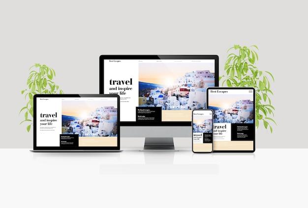 Maquete de dispositivos de cena de viagem blog renderização em 3d