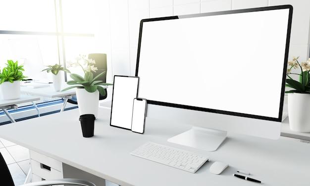Maquete de dispositivos de tela branca