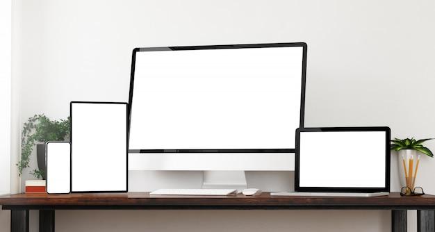 Maquete de dispositivos de vista frontal
