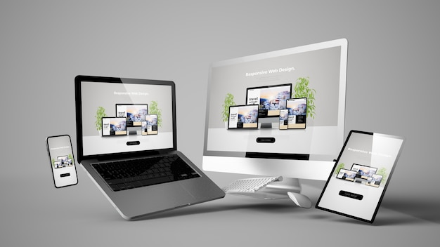 Maquete de dispositivos flutuantes com renderização em 3d de design de site responsivo