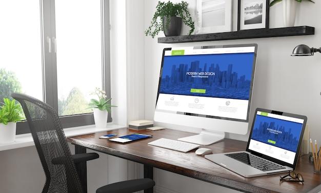 Maquete de dispositivos responsivos em preto e branco com web design moderno responsivo