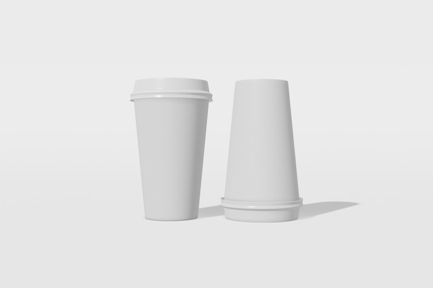 Maquete de dois copos de papel com uma tampa em um fundo branco. um dos copos está virado de cabeça para baixo. renderização em 3d