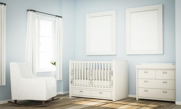 Maquete de dois quadros em branco na parede do quarto de bebê azul
