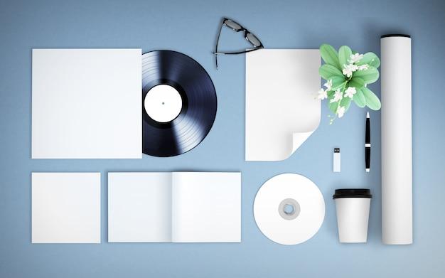 Maquete de elementos em branco vista superior fundo azul